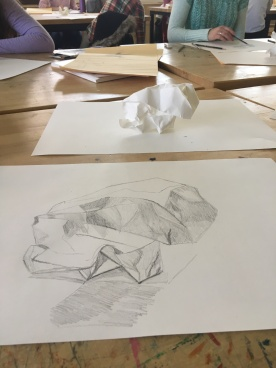 Crumpled paper exercise 2; 2018; graphite on paper