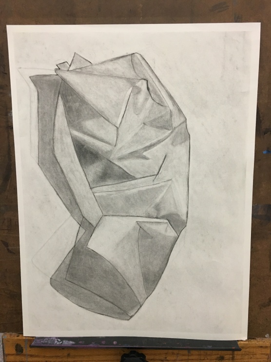 Crumpled Paper 1; 2017; charcoal on paper